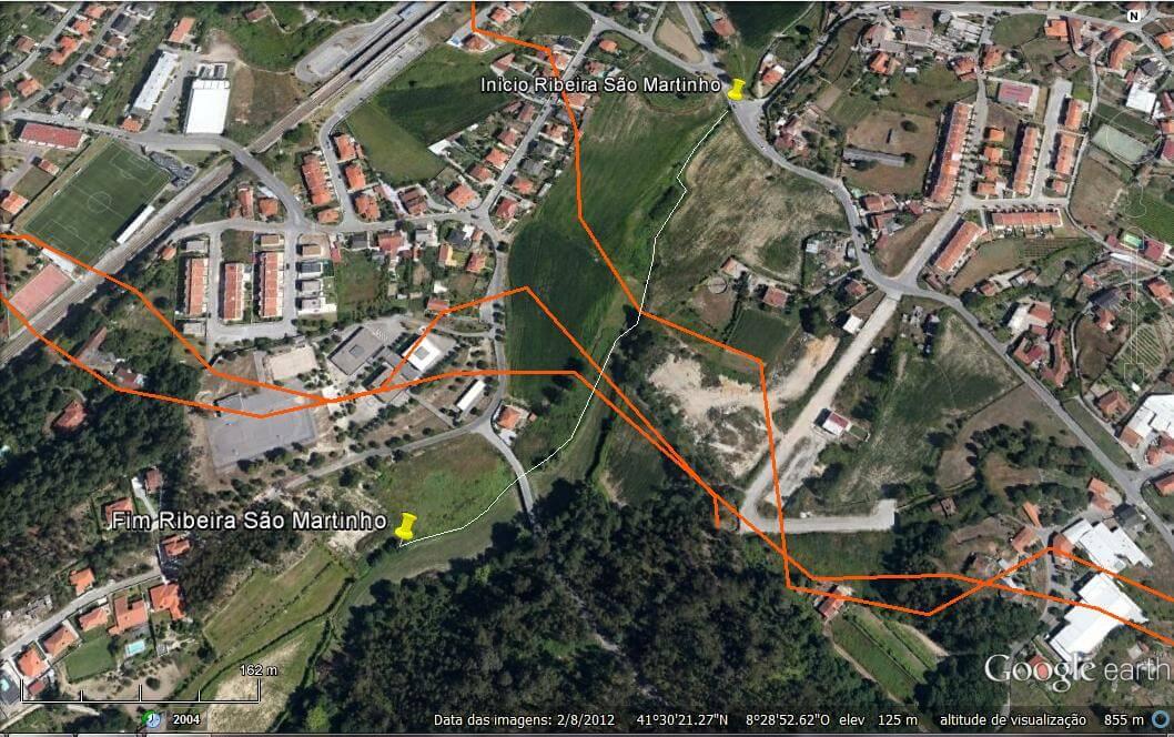 Foto 1 - A Ribeira de São Martinho numa foto aérea de Tadim – Braga – Portugal.