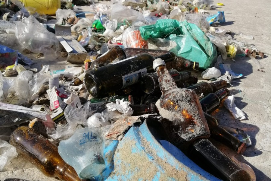NÃO LIXES  –  Antes da pandemia, uma limpeza na praia da Barra.